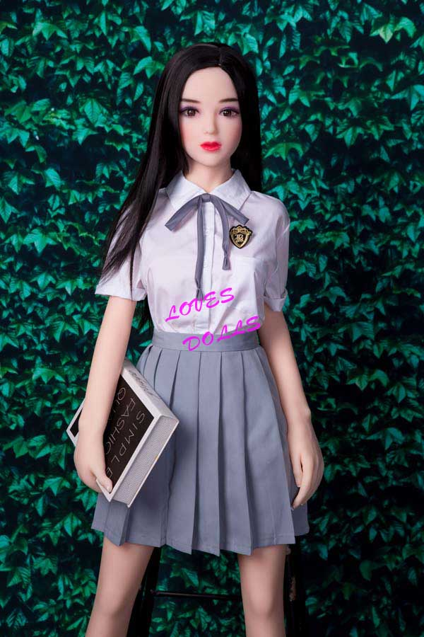 150cm ( 4.92ft ) Realistic Silicone Sex Doll With Pretty Cheeks Silender Body Pink Breasts White Butt Korean 13 Years Old Innocent Girl White Skin Wear Student Skirt Pink labia Lively Oral Vagina Pussy Anal Love Doll YW-76