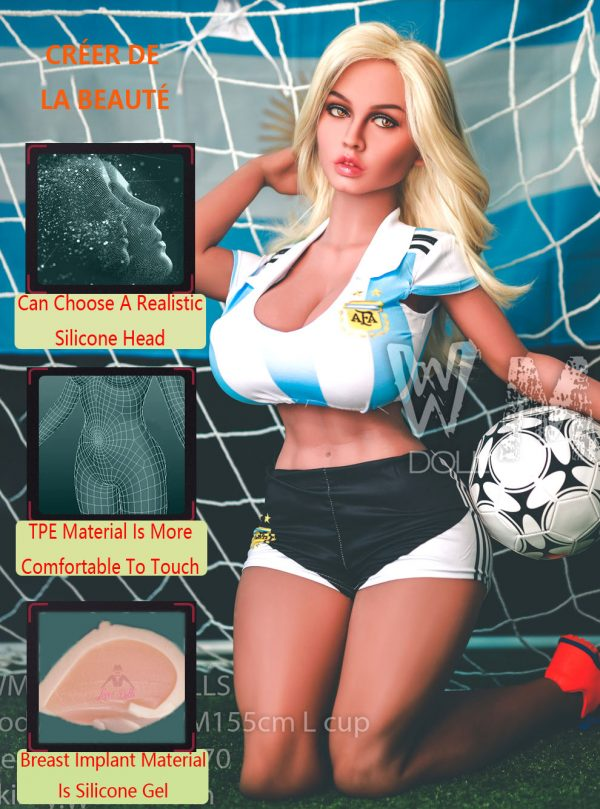 155cm(5.09ft) Sex Doll Orgy Football Girl Sex Doll's Butt Is Dipping And Spinning And The Two Big Round Muscles Like The Rumps Of Goat