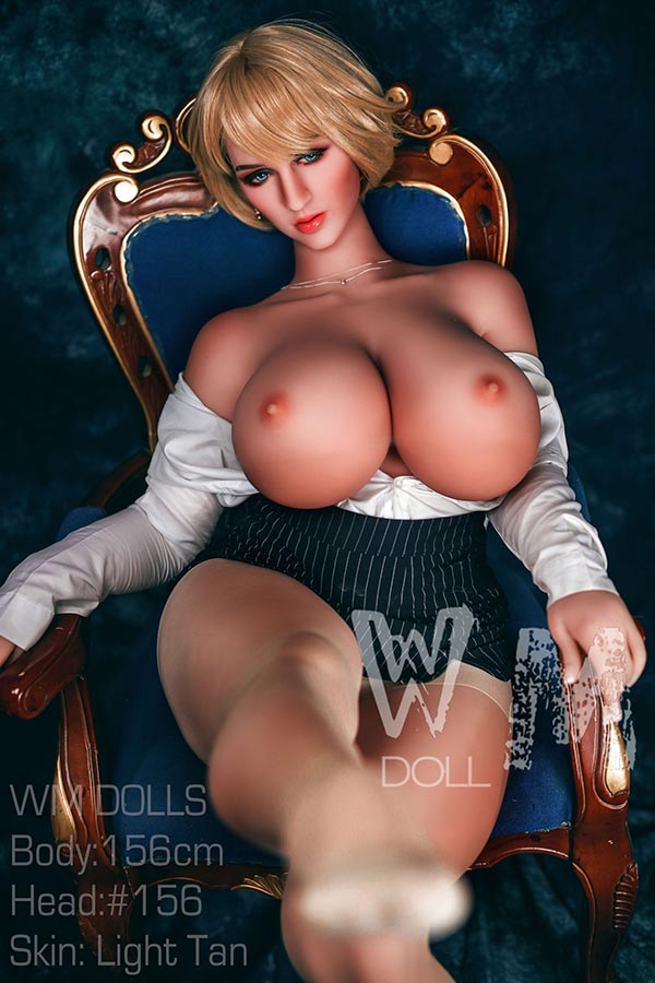 156cm(5.12ft) Vice Sex Doll With M Cup Tits Has A Pretty Cheeks Plump Figure Hugh Hips Blue Eyes Blonde Hair And The Sex Doll Is So Alluring