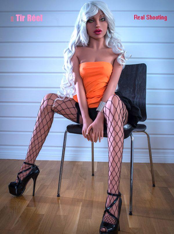 155cm(5.09ft) Lifelike White Hair Maiden Sex Dolls Wear Sexy Skirt And Fishnet Stockings For Men To Fuck