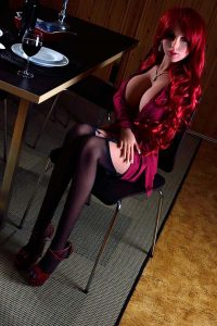 155cm(5.09ft) Latest Sex Dolls Redhead Sex Doll Whore In Black Sexy Stockings Waits For Her Guest In The Night